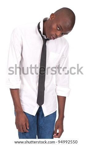 young black man standing and feeling miserable