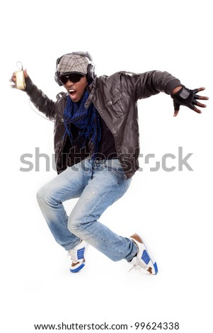 young black men with a dancing move - stock photo