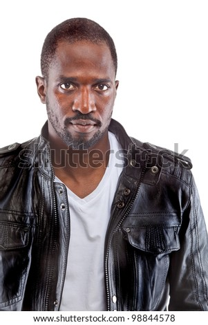 Young black stylish man isolated over white background - stock photo