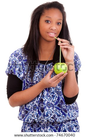 young black woman drinking apple juice