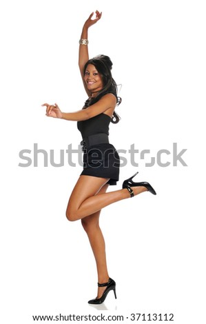 Young black woman jumping and isolated on a white background