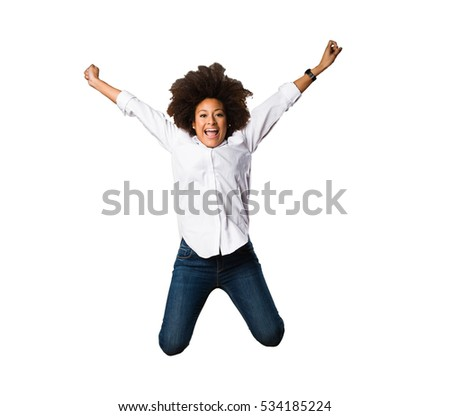 young black woman jumping full body