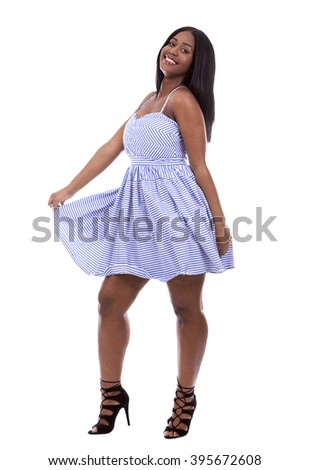 young black woman wearing blue dress on white background