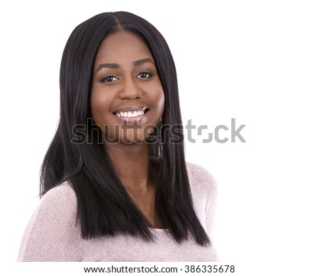 young black woman wearing light swether on white background - stock photo