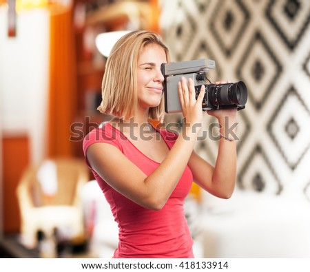 young blond girl. happy expression - stock photo