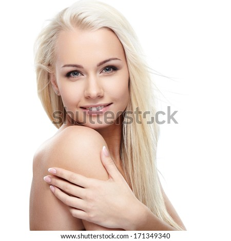 Young blond lady on white background - stock photo