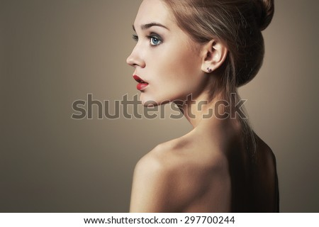 Young blond woman.Beautiful blonde Girl.close-up fashion portrait.naked body.make-up - stock photo