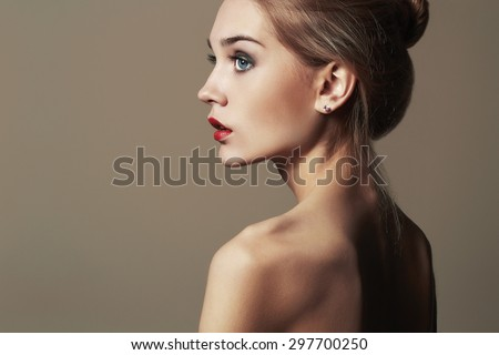 Young blond woman.Beautiful blonde Girl.close-up fashion portrait.naked body.make-up - stock photo