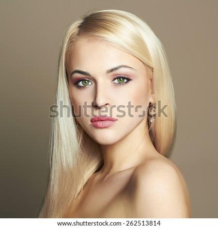 Young blond woman.Beautiful Girl.close-up fashion portrait - stock photo