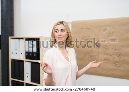 Young Blond Woman Discussing the Plan to the Group Using a Brown Poster Paper with Conceptual Drawing. - stock photo