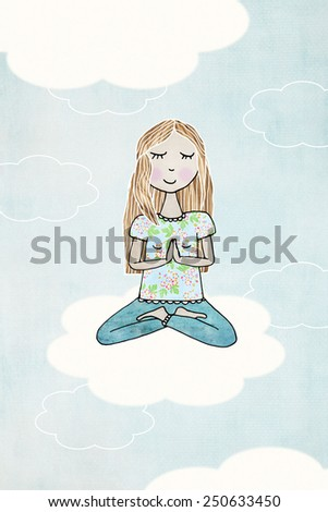 Young blond woman doing meditation