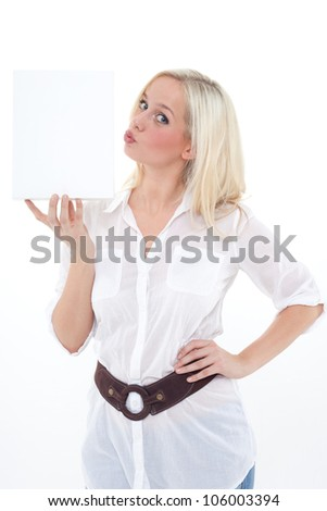 young blond woman holds an empty carton and makes a kiss-mouth/young woman with an empty box/woman with a carton