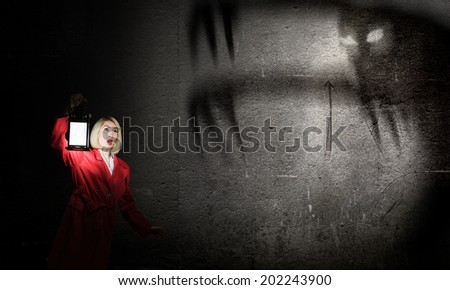Young blond woman in red cloak with lantern - stock photo