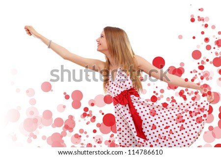 Young blond woman in red dress with red circles around - stock photo