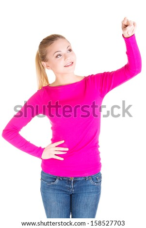 Young blond woman making choose on abstract screen