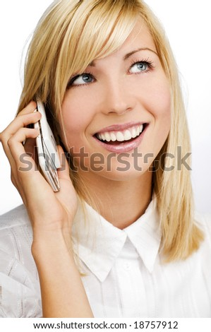young blond woman talking on mobile phone close up