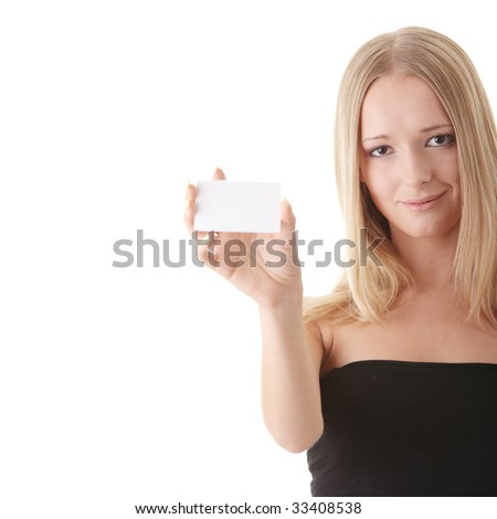 Young blond woman with business card in hand