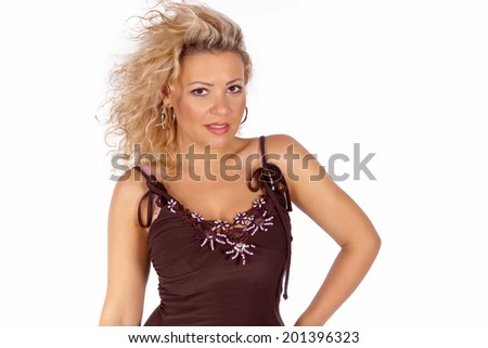 Young blond woman with curly hair