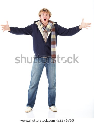 Young blonde adult caucasian man in casual clothes and scruffy beard on a white background - Arms out in disbelief. Not Isolated