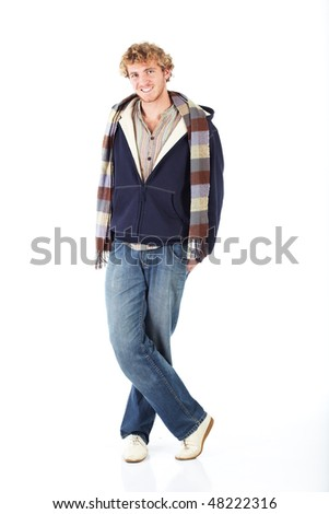 Young blonde adult caucasian man in casual clothes and scruffy beard on a white background. Not Isolated