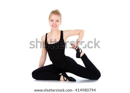 Young blonde girl pilates instructor showing different exercises from yoga. Fitness and gymnastic exercises. Isolated on white background - stock photo