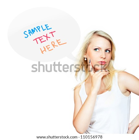 Young blonde girl standing near blank speech bubble on white background