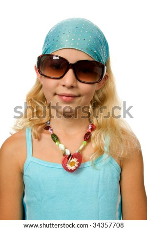Young blonde summer girl with pink sunglasses isolated on white background