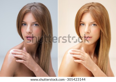 young blonde woman applying cream on shoulder  before and afterr etouching - stock photo
