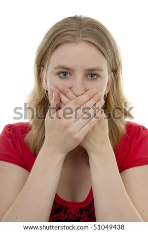 Young blonde woman covers her mouth: speak no evil, isolated on white background - stock photo