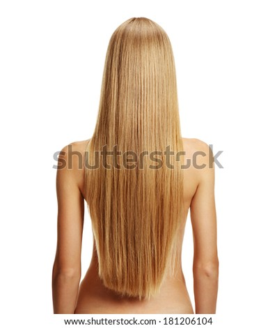 Young blonde woman with healthy long hair - isolated on white background