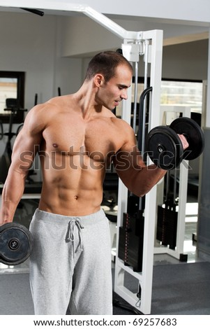 young bodybuilder training in the gym - dumbbell alternate biceps curl - stock photo