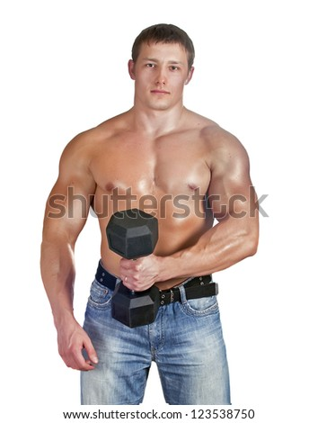 young bodybuilder training with dumbbell