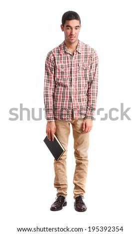 young boring man with a book