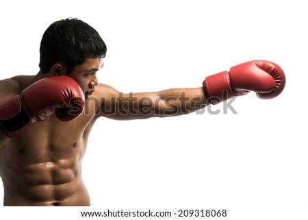 Young Boxer fighter ,isolated on white background - stock photo
