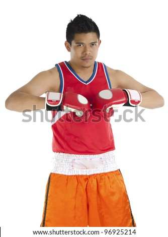 Young boxer over on white background. - stock photo
