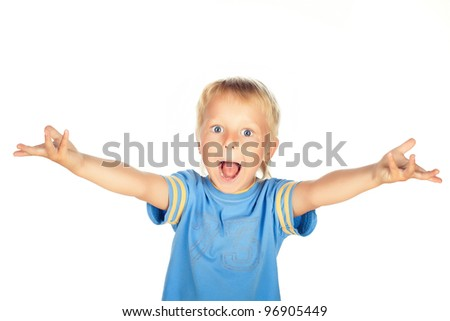 Young boy ages 2-3 years old isolated on white and is wearing a blue shirt  and he has a happy,excited expression on his face