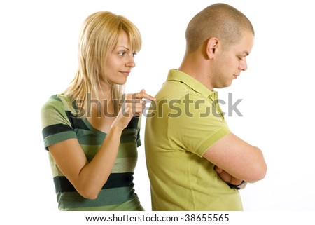 young boy angry on his girlfriend over white background
