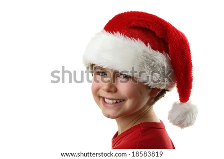 Young boy as Santa Claus isolated on white background - stock photo