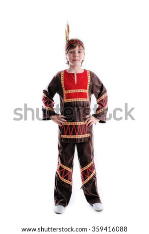 young boy at injun folk traditional carnival costume - stock photo