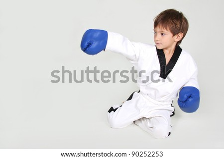 young boy boxer studio shot - stock photo