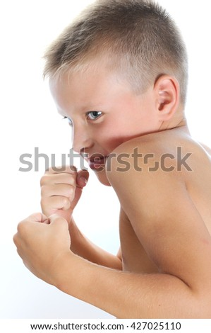 young boy boxing - stock photo