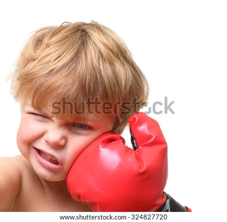 Young boy boxing isolated on white background - stock photo