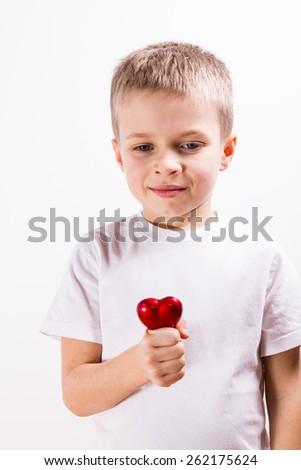 Young boy brushing his teeth - stock photo