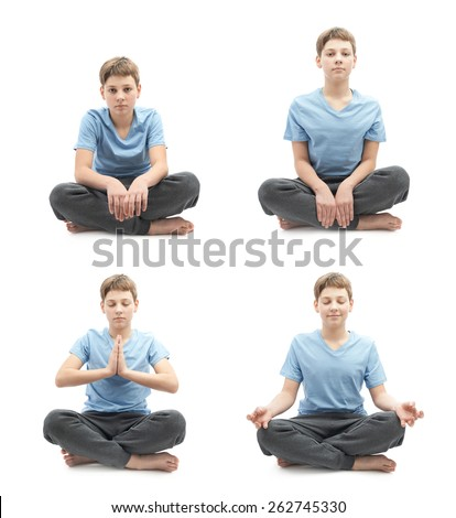Young boy doing yoga in a lotus position, set of four stages from tired beginner to focused professional, full shot isolated over the white background - stock photo