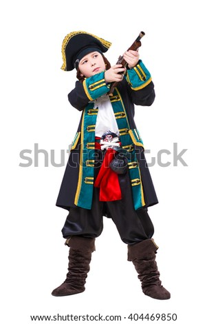 Young boy dressed as pirate posing with a gun. Isolated on white - stock photo
