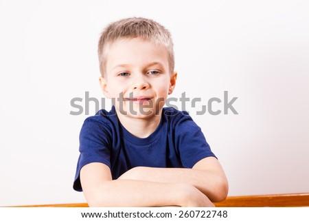 Young boy face - stock photo