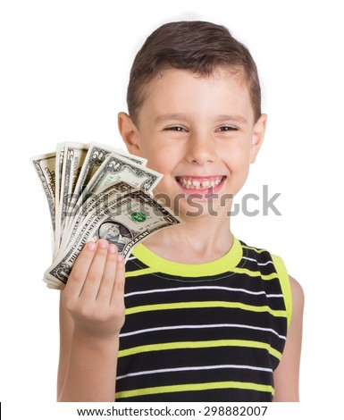 Young boy feeling happy with his money