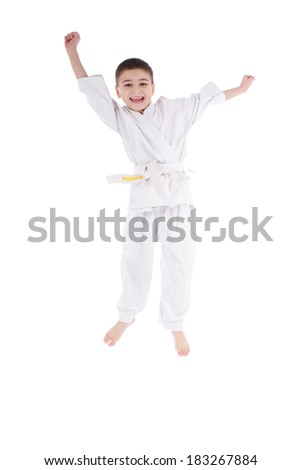 Young boy fighter in kimono