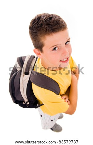 Young boy full body with school bag, isolated on white
