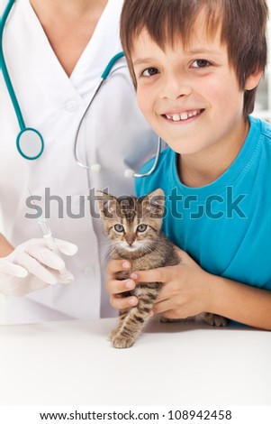 Young boy getting his small kitten to vaccination at the veterinary - focus on the cat - stock photo